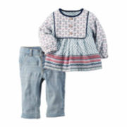 Carter's® 2-pc. Ivory Multi Tunic and Jeans Set - Baby Girls newborn-24m