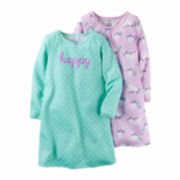 Carter's® 2-pk. Lavender Owl Print Long-Sleeve Gowns - Toddler Girls 2t-5t