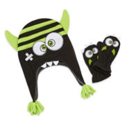 Mystic Apparel Green Monster Hat & Mitten Set - Toddler
