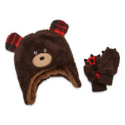 Mystic Apparel Plush Bear Hat & Mitten Set - Toddler
