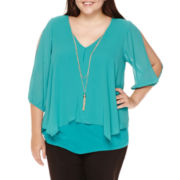 by&by 3/4-Sleeve Necklace Top - Plus