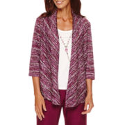 Alfred Dunner® Veneto Valley 3/4-Sleeve Layered Top with Necklace - Petite