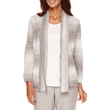 jcpenney.com | Alfred Dunner® Veneto Valley 3/4-Sleeve Pointelle Layered Top - Petite