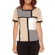 Alfred Dunner® Madison Park Short-Sleeve Colorblock Sweater - Petite
