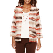 Alfred Dunner® Sante Fe 3/4-Sleeve Watercolor Layered Top with Necklace - Petite