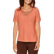 Alfred Dunner® Sante Fe Short-Sleeve Beaded-Yoke Sweater - Plus