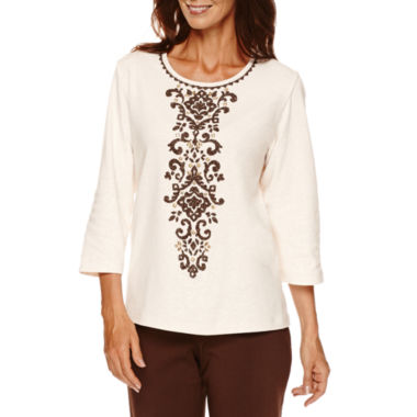 jcpenney.com | Alfred Dunner® Sante Fe 3/4-Sleeve Scroll Center Tee - Petite
