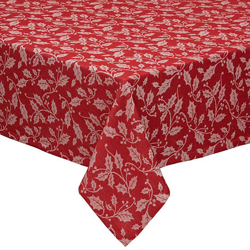 "Design Imports Holly Flourish Jacquard 52x52"" Tablecloth"