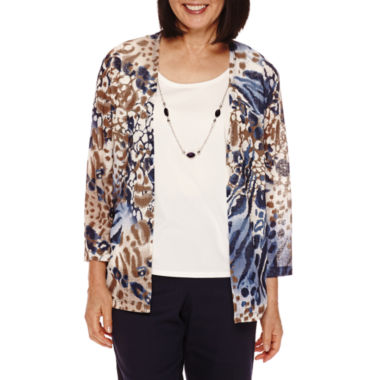jcpenney.com | Alfred Dunner® 3/4-Sleeve Animal Print Layered Top