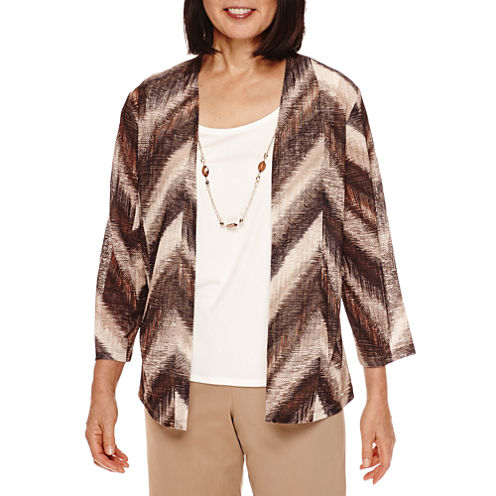 Alfred Dunner® 3/4-Sleeve Print Layered Top