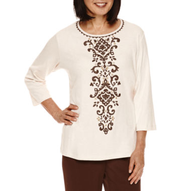 jcpenney.com | Alfred Dunner® Santa Fe 3/4-Sleeve Center Scroll Tee