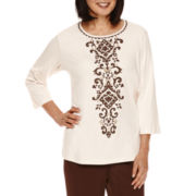 Alfred Dunner® Santa Fe 3/4-Sleeve Center Scroll Tee