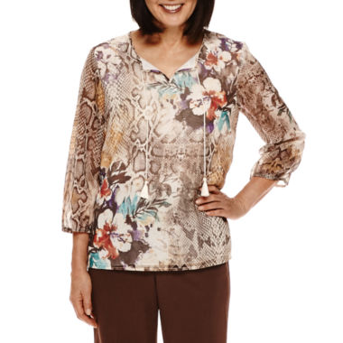 jcpenney.com | Alfred Dunner® Santa Fe 3/4-Sleeve Printed Tunic