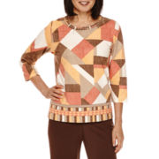 Alfred Dunner® Santa Fe 3/4-Sleeve Patch Shimmer Tee