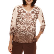 Alfred Dunner® Santa Fe 3/4-Sleeve Ombre Scroll Tee