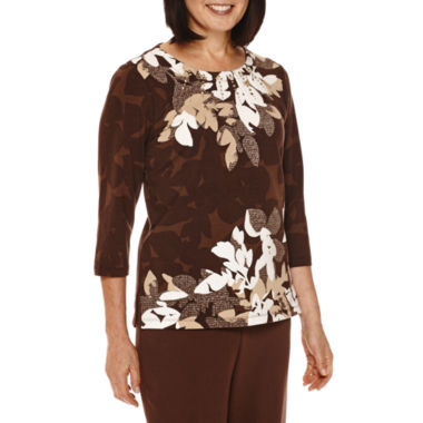 jcpenney.com | Alfred Dunner® Santa Fe 3/4-Sleeve Floral-Print Top
