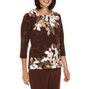 Alfred Dunner® Santa Fe 3/4-Sleeve Floral-Print Top