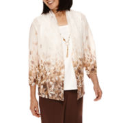 Alfred Dunner® Sante Fa Ombre Floral Layered Top with Necklace