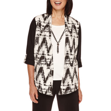 jcpenney.com | Alfred Dunner® Madison Park 3/4-Sleeve Texture Layered Necklace Top