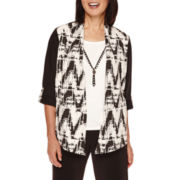 Alfred Dunner® Madison Park 3/4-Sleeve Texture Layered Necklace Top