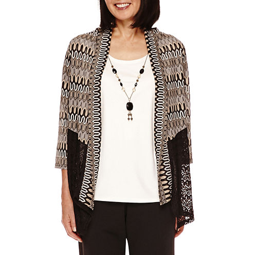 Alfred Dunner® Madison Park 3/4-Sleeve Spliced Layered Top