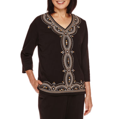 jcpenney.com | Alfred Dunner® Madison Park 3/4-Sleeve Center Embroidery Top