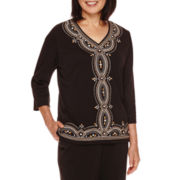 Alfred Dunner® Madison Park 3/4-Sleeve Center Embroidery Top