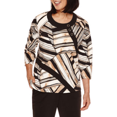 jcpenney.com | Alfred Dunner® Madison Park 3/4-Sleeve Patch-Print Top