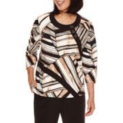 Alfred Dunner® Madison Park 3/4-Sleeve Patch-Print Top