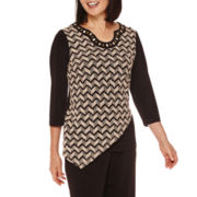 Alfred Dunner® Madison Park 3/4-Sleeve Texture Asymmetrical Top