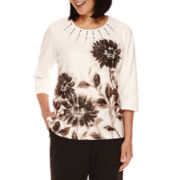 Alfred Dunner® Madison Park 3/4-Sleeve Floral Top - Petite