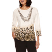 Alfred Dunner® Madison Park 3/4-Sleeve Sweater with Necklace - Petite