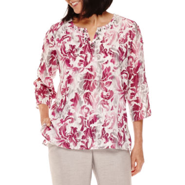 jcpenney.com | Alfred Dunner® Veneto Valley 3/4-Sleeve Scroll Print Tunic