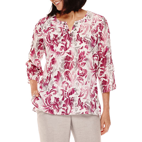 Alfred Dunner® Veneto Valley 3/4-Sleeve Scroll Print Tunic