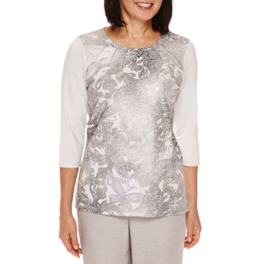 jcpenney.com | Alfred Dunner® Veneto Valley 3/4-Sleeve Paisley-Print Shimmer Top