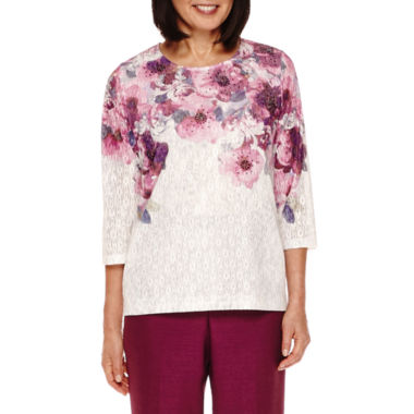 jcpenney.com | Alfred Dunner® Veneto Valley 3/4-Sleeve Floral Yoke Top