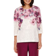 Alfred Dunner® Veneto Valley 3/4-Sleeve Floral Yoke Top - Petite