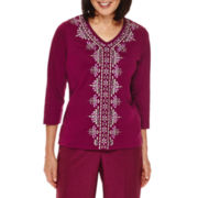 Alfred Dunner® Veneto Valley 3/4-Sleeve Center-Embroidery Top