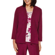 Alfred Dunner® Veneto Valley 3/4-Sleeve Floral-Print Layered Sweater