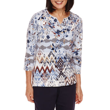 jcpenney.com | Alfred Dunner® 3/4-Sleeve Diamond-Print Top