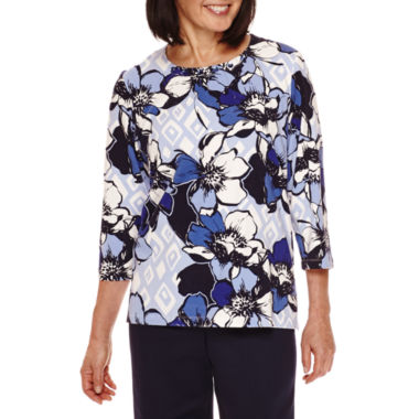 jcpenney.com | Alfred Dunner® 3/4-Sleeve Floral Print Top