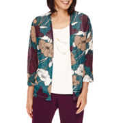 Alfred Dunner® 3/4-Sleeve Floral-Print Layered Top