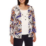 Alfred Dunner® 3/4-Sleeve Abstract-Print Layered Top