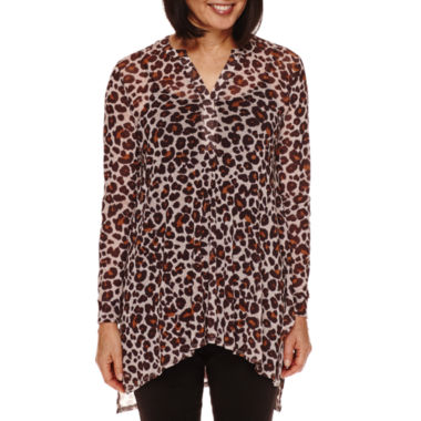 jcpenney.com | Sag Harbor® Artful Animal-Print 3/4-Sleeve Mesh Top