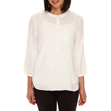 jcpenney.com | Sag Harbor® Artful Animal 3/4-Sleeve Pleated-Back Blouse