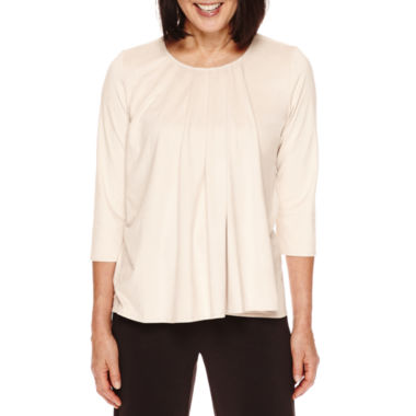 jcpenney.com | Sag Harbor® Artful Animal 3/4-Sleeve Faux-Suede Double Layer Top