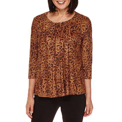 Sag Harbor® Artful Animal-Print 3/4-Sleeve Faux-Suede Double Layer Top