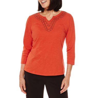 jcpenney.com | Sag Harbor® Artful Animal 3/4-Sleeve Embroidery Top