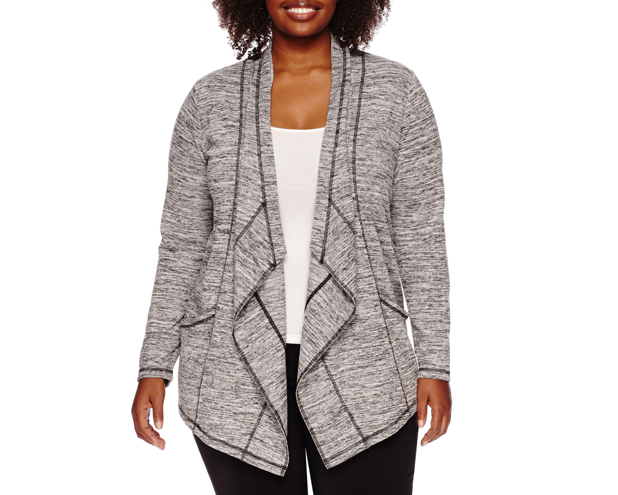 Liz Claiborne Long-Sleeve Drape Knit Cardigan - Plus