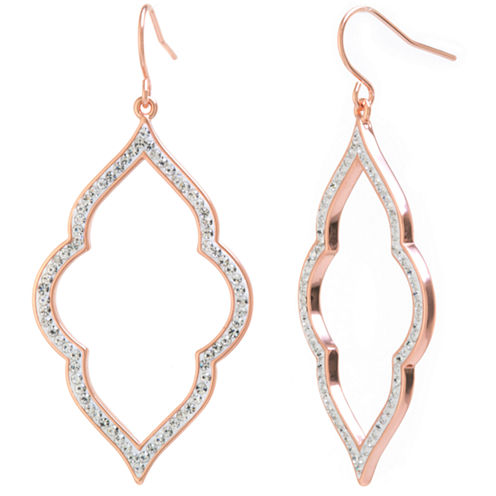 Sparkle Allure Clear Gold Over Brass Drop Earrings